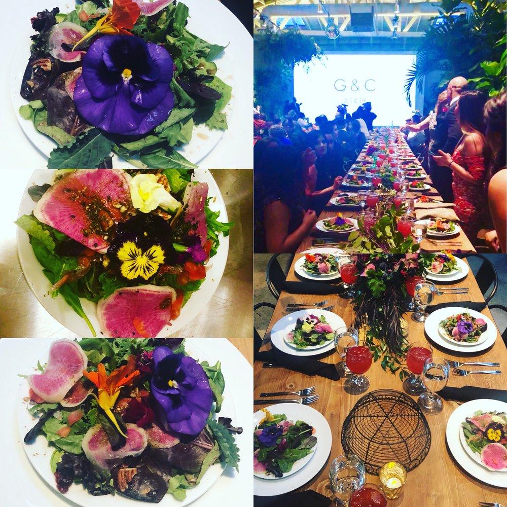 Organic floral za'atar salads with hand mixed organic greens and muhammara pomegranate dressing