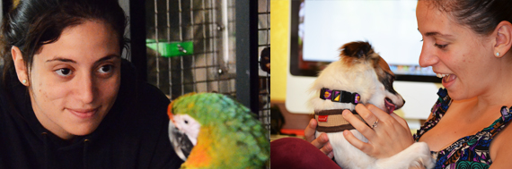 Jake talks to Miley the Catalina Macaw