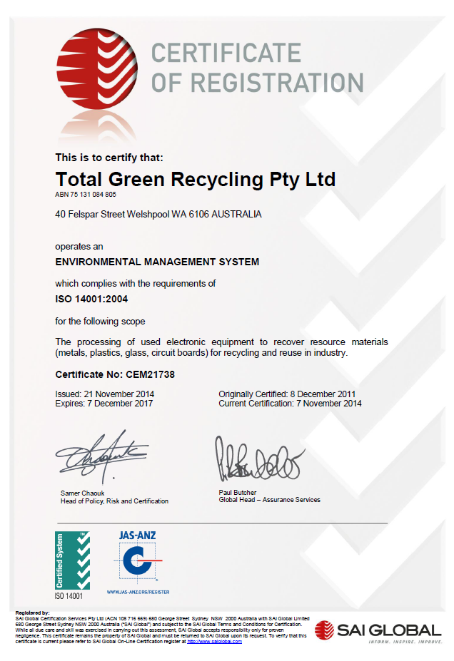 Total Green Recycling's Welshpool Recycling Facility has just had their ISO 14001 Certification renewed for another 3 years. Now recycling in excess of 2,000 Tonnes of TV's, Computers & other electronic waste per year. We continue to work with our many council, government and corporate clients to successfully help to reduce waste to landfill throughout Perth as well as regional and rural areas of Western Australia.