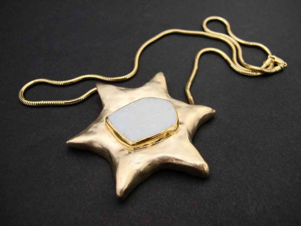 Yellow Star of David with Opal