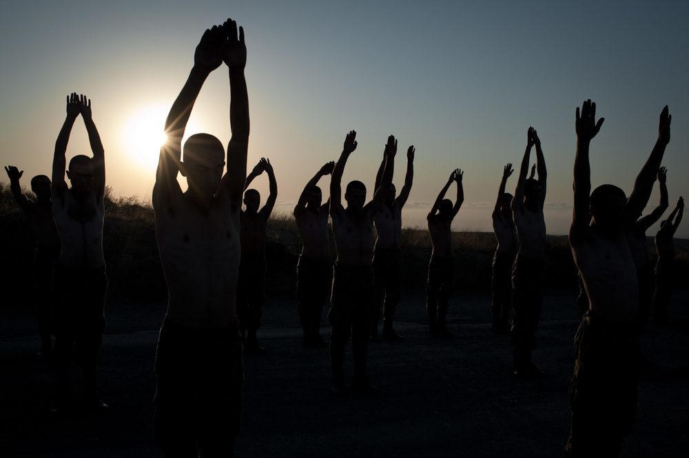 6am, morning calisthenics, at the Jebrail military base in Southern Nagorno-Karabakh.
