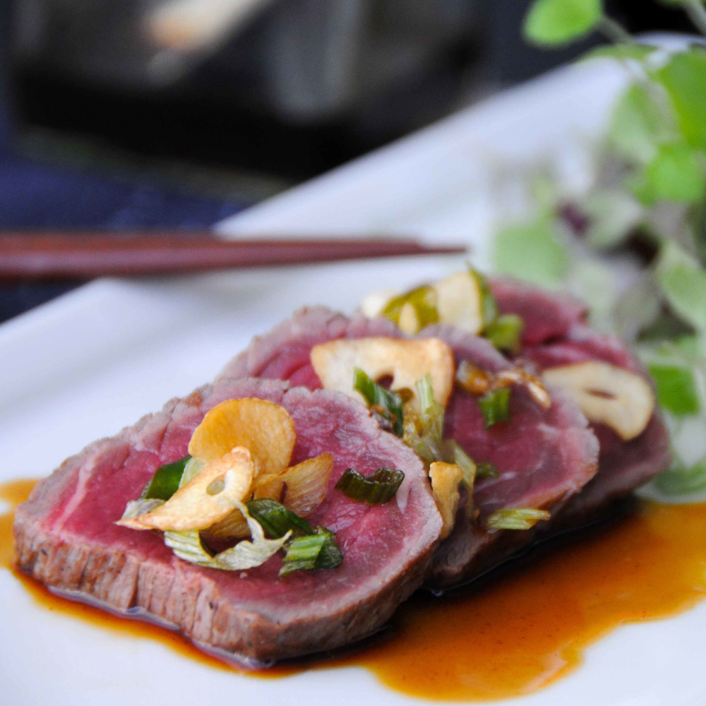 Beef Tataki with a Ponzu Dressing and Cress Salad