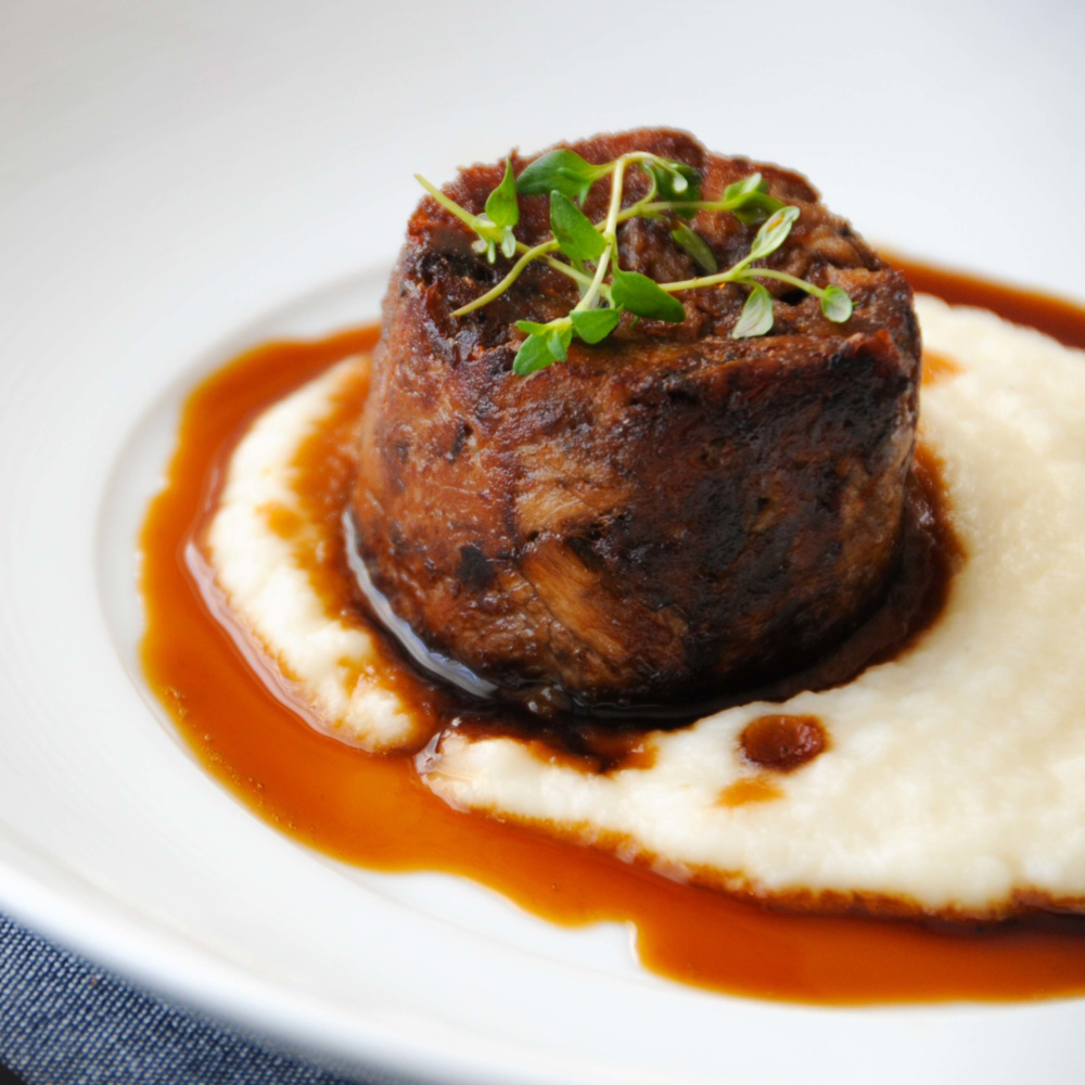 Tian of Braised Beef with Celeriac Puree & Marsala Jus