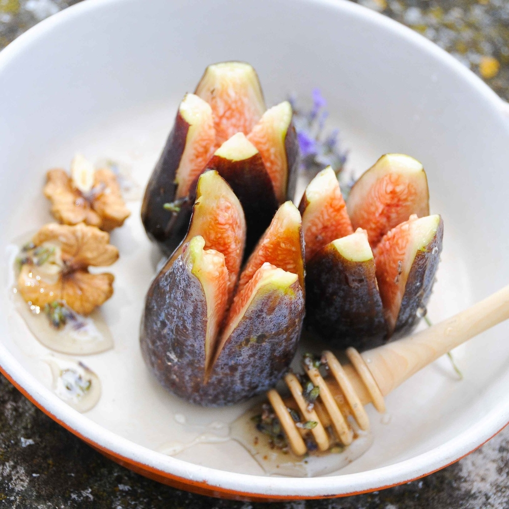 Roasted Black Figs, Lavender, Honey, Walnut