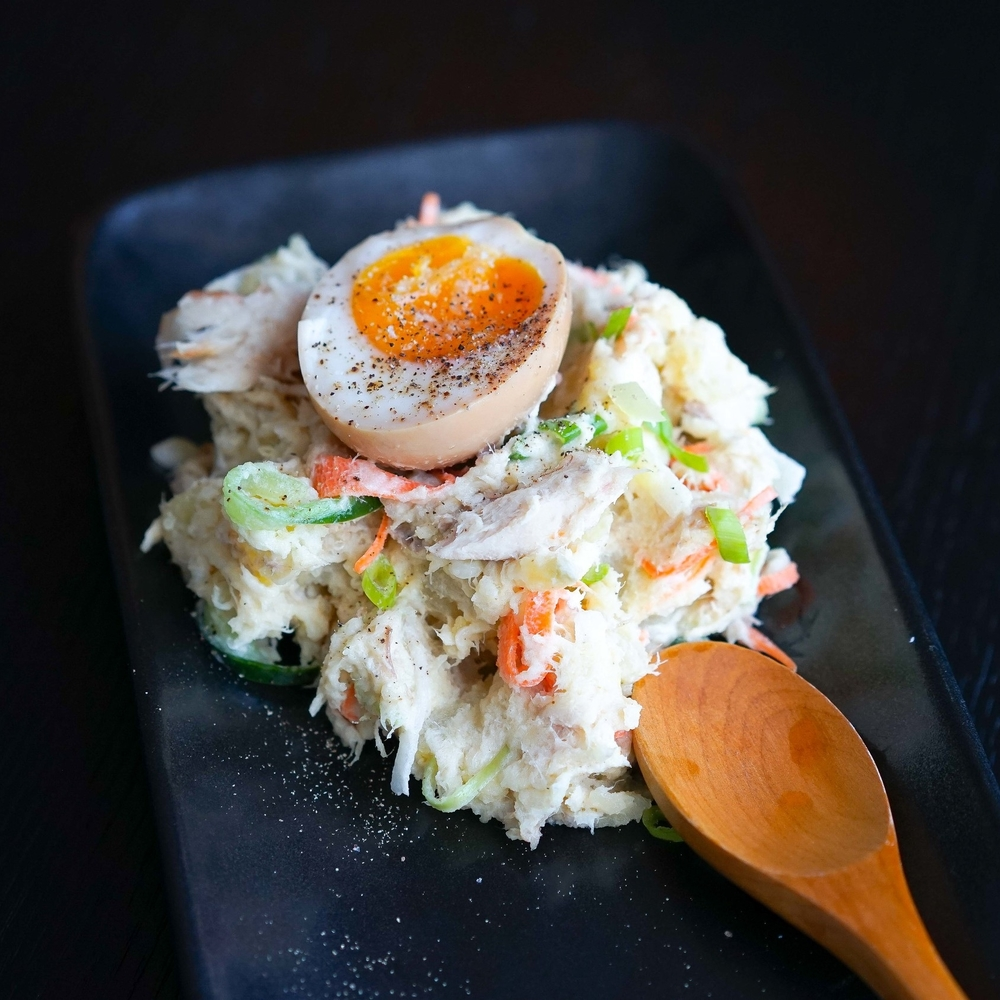 Japanese Potato Salad with Smoked Mackerel & Soy Eggs