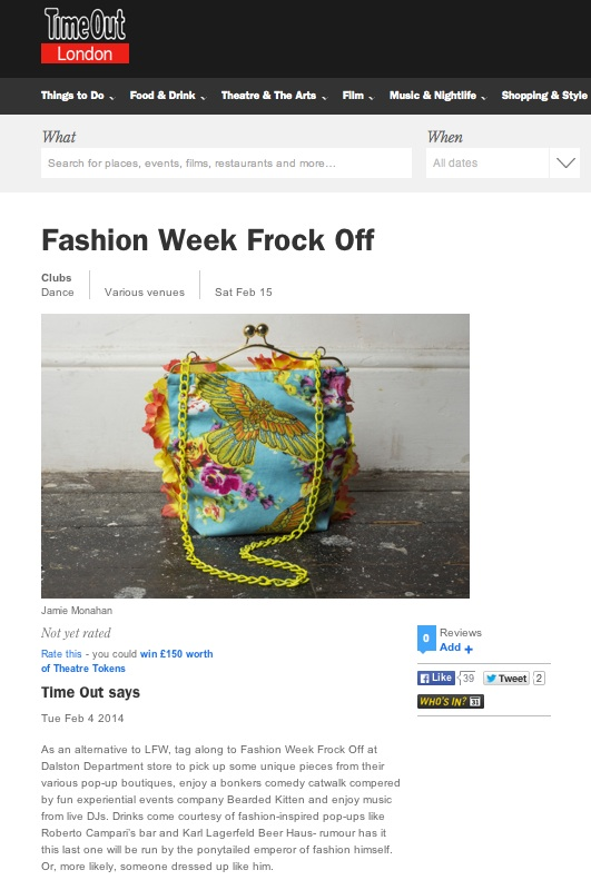 Bird Bouquet Bag featured in TimeOut London for the LFW Frock Off Event