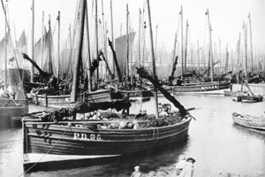 A traditional Peterhead fishing boat in the early 1900's.