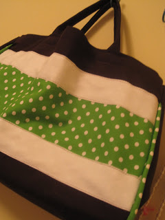 green and brown tote bag