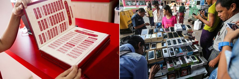 Left: An Ooredoo employee shows a book containing available mobile phone numbers inside the company store in Yangon; Right: Shoppers look at mobile phones for sale at a street stall.