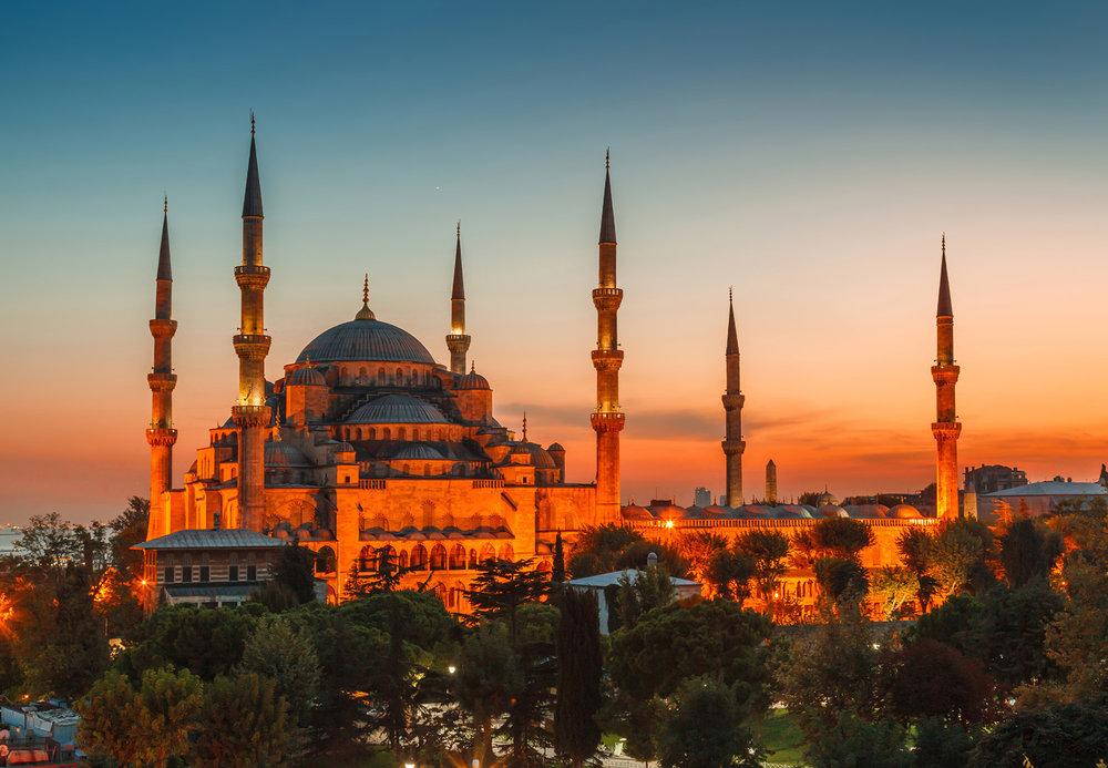 Den Blå Moske i Istanbul.