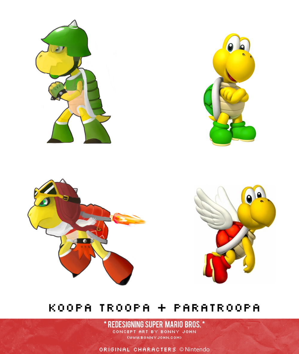 Koopa Troopa and Paratroopa Redesign Comparison.png