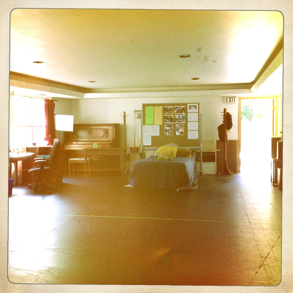 Playing house -- the rehearsal set.