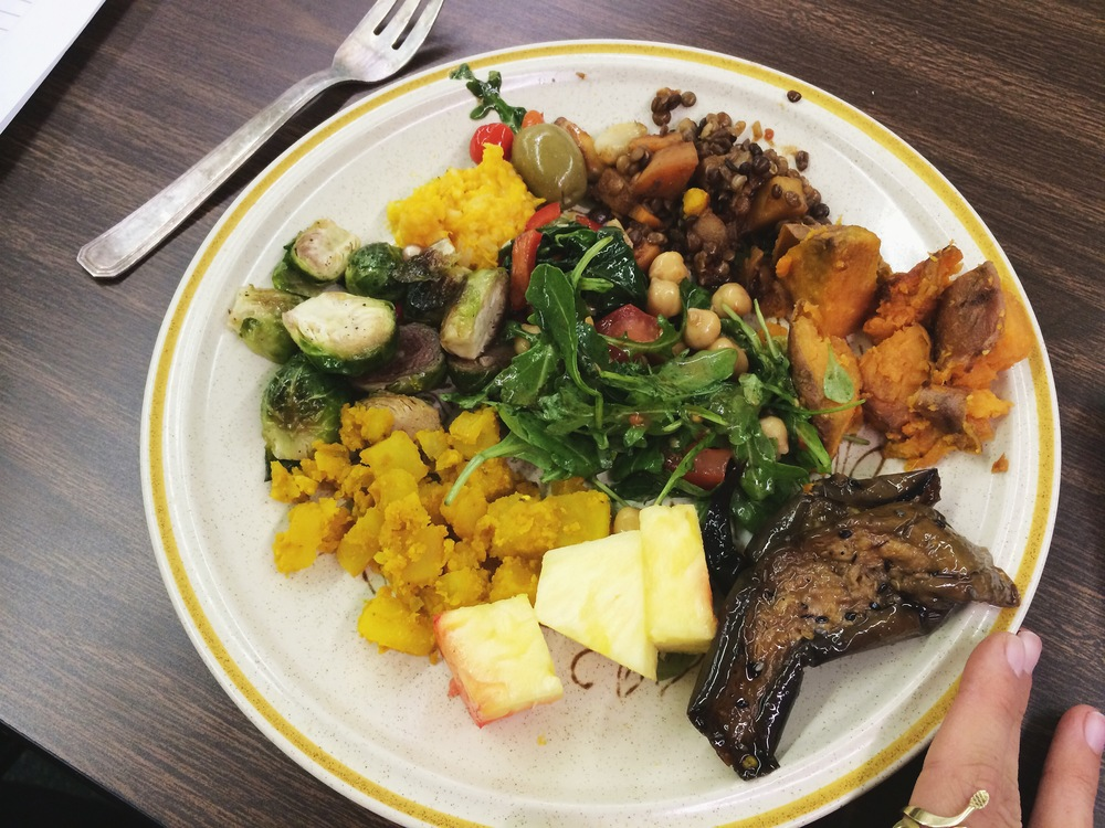 A typical herb school potluck plate - ft pomegranate and walnut roasted brussel sprouts + the best baked sweet potatoes ever