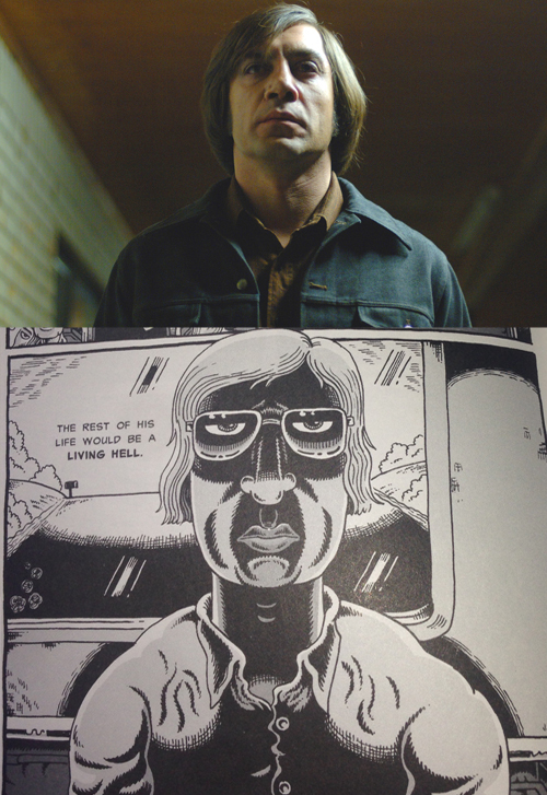 Above: Anton Chighur in No Country for Old Men. Below: Jeffrey Dahmer in My Friend Dahmer.