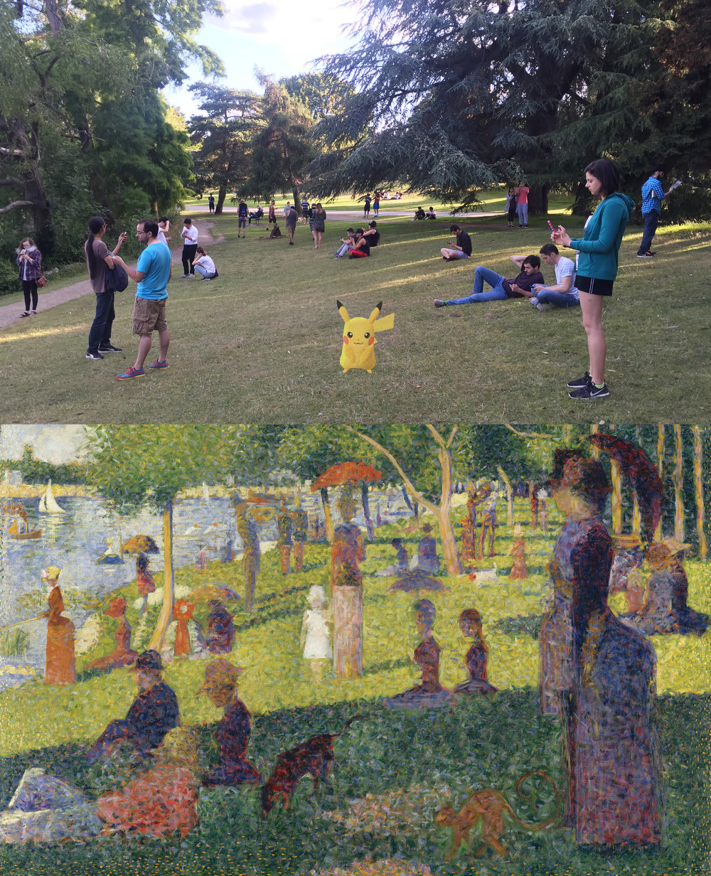 Pokémon GO players gather at a Pok  éspot in   Seattle's Green Lake Park. Reminds me of a modern day version of  Seurat's Sunday Afternoon on the Island of La Grande Jatte .