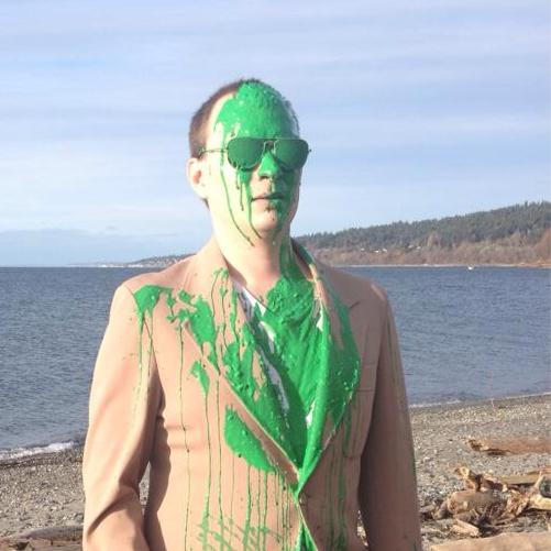 The first shot of production: testing the green slime chroma key method on myself.