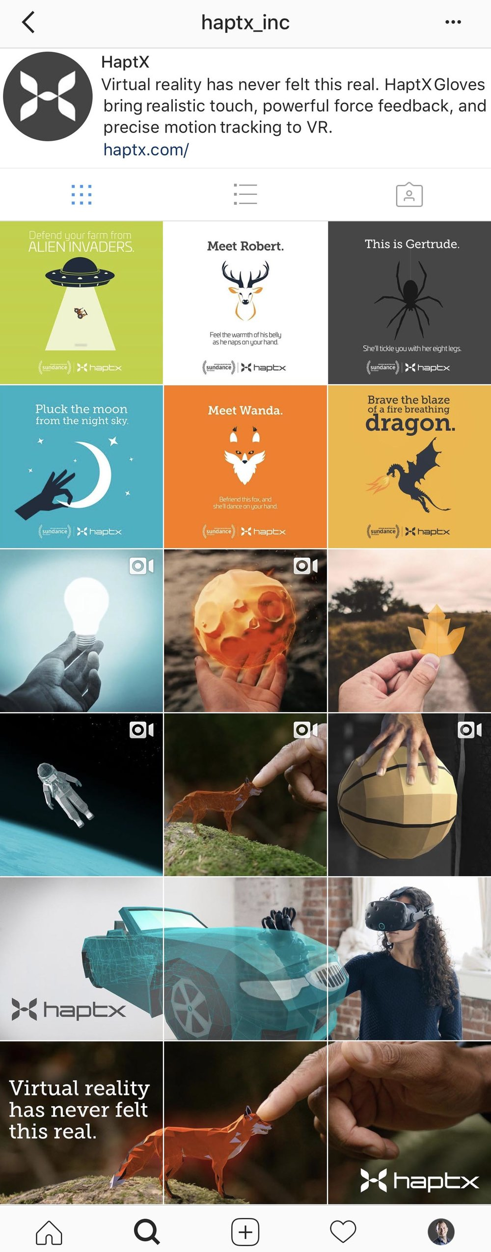 Screen capture of HaptX's Instagram.