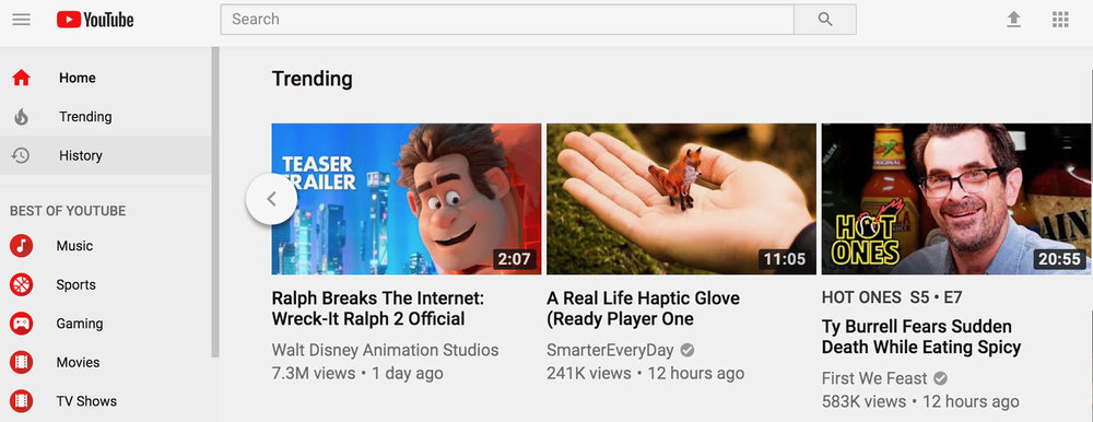 Screen capture of YouTube's home page. We peaked at the #7 trending video worldwide.