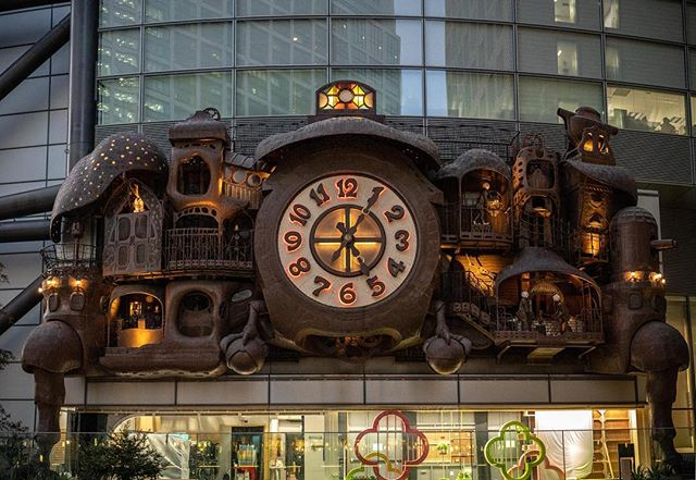 We're working in an office across the street from this giant clock, designed by Miyazaki. #studioghibli