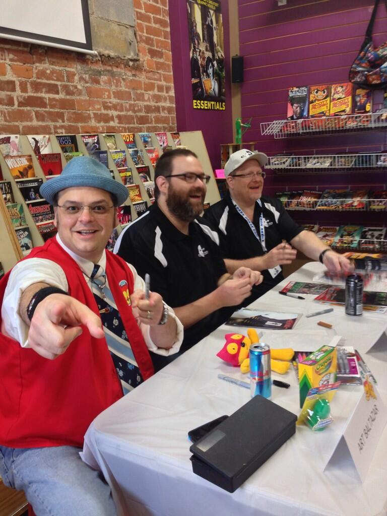 Art Baltazar, me, and Mark Waid at Alter Ego Comics!