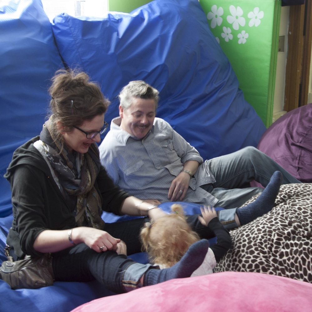 Foofs, beanbags and crash pads: for the whole family!  (photograph by Kate Milford