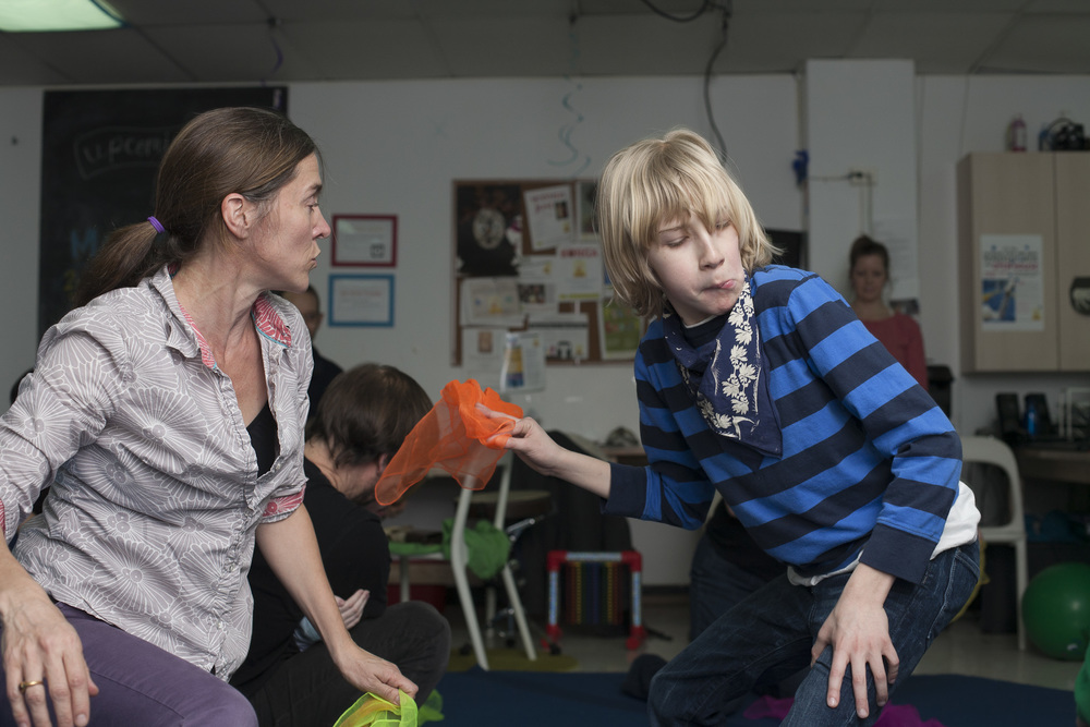 Eliza and Jack getting down at Mark Morris Movement class.  (photograph by Kate Milford)