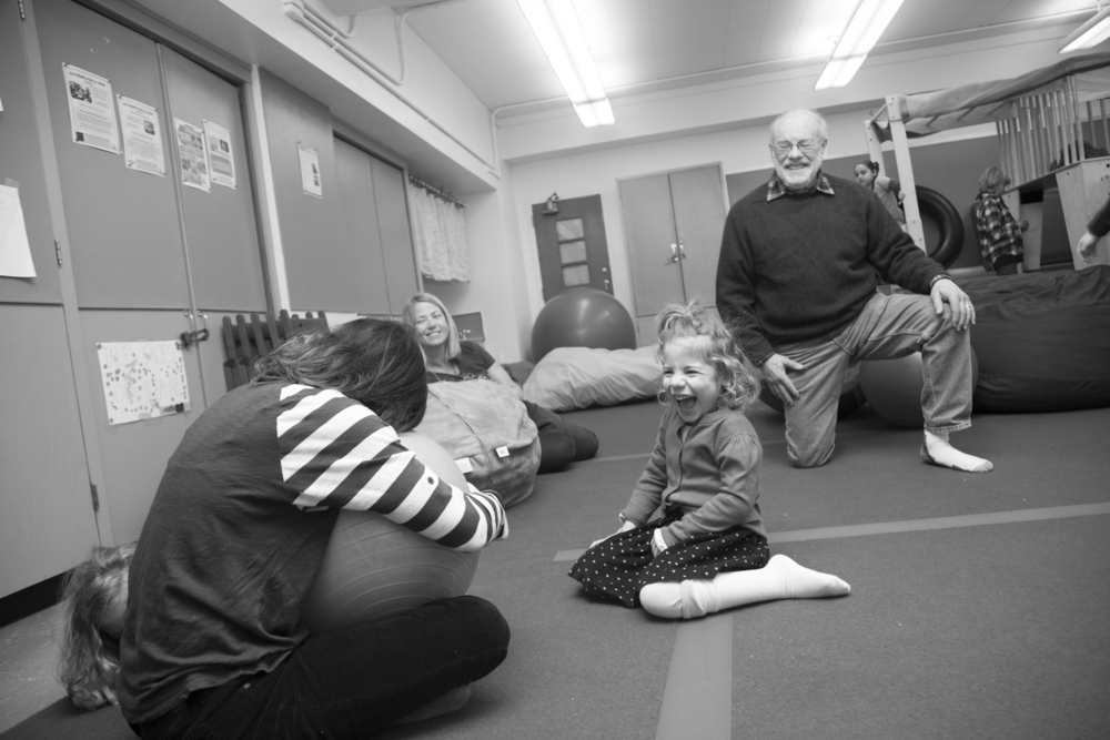 Sunday mornings  at the gym are what I look forward to all week. This picture of Sammy is everything she is - pure happiness and total enjoyment.  Playtime at the park can be difficult for her - given her limited mobility due to  CP  - but she can navigate and explore at her own pace at the gym.  And the whole family, from grandparents to her twin, experience that together.
