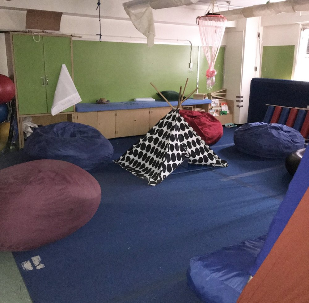 Indoor tent in classroom.