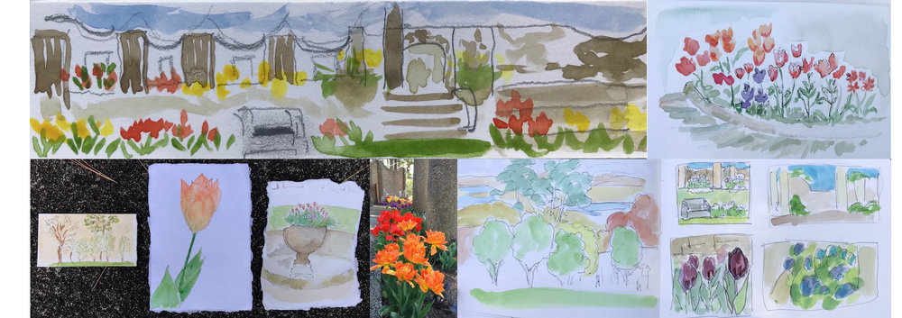 Drawings in the round rose garden of Castle Hill, Ipswich
