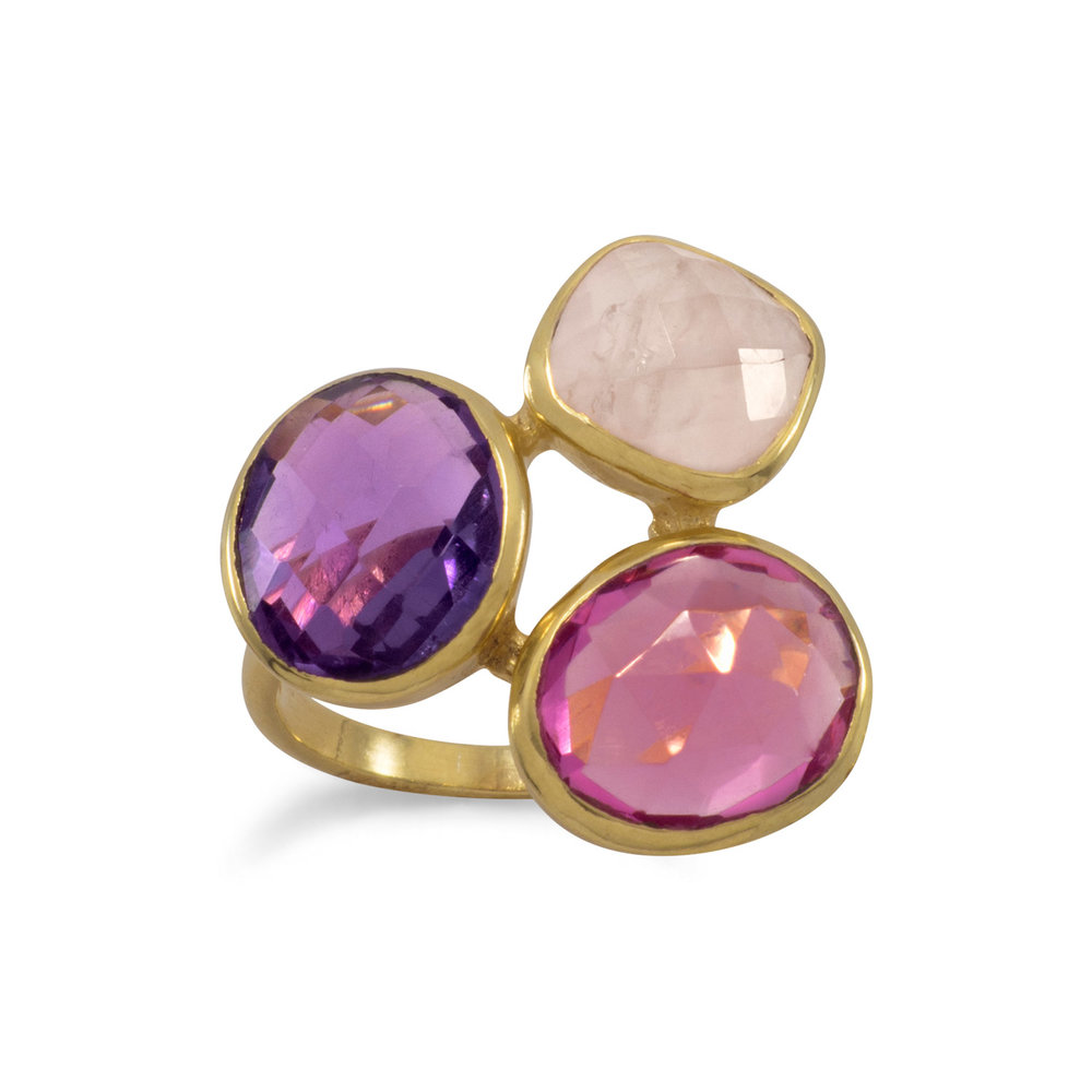 14 Karat Gold Plated Multistone Ring  $46.00