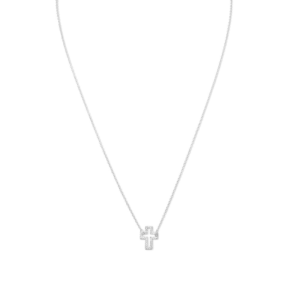Delicate Sideways Cross Necklace with CZs    $29.00