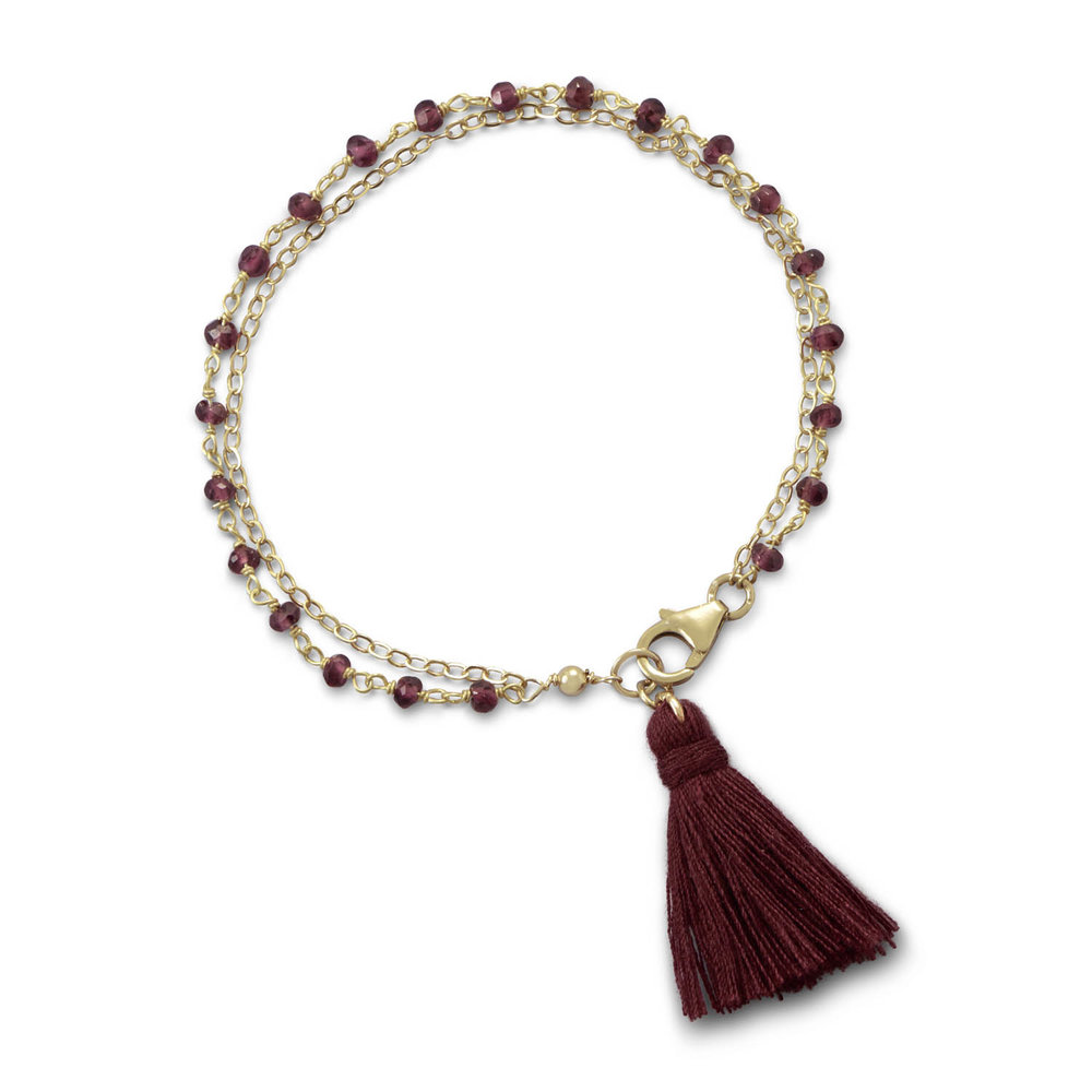Double Strand Bracelet with Garnet and a Tassel   $38.00
