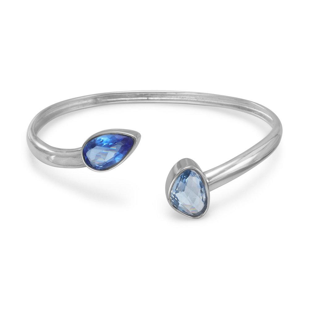 Rhodium Plated Blue Glass Cuff  $77.00