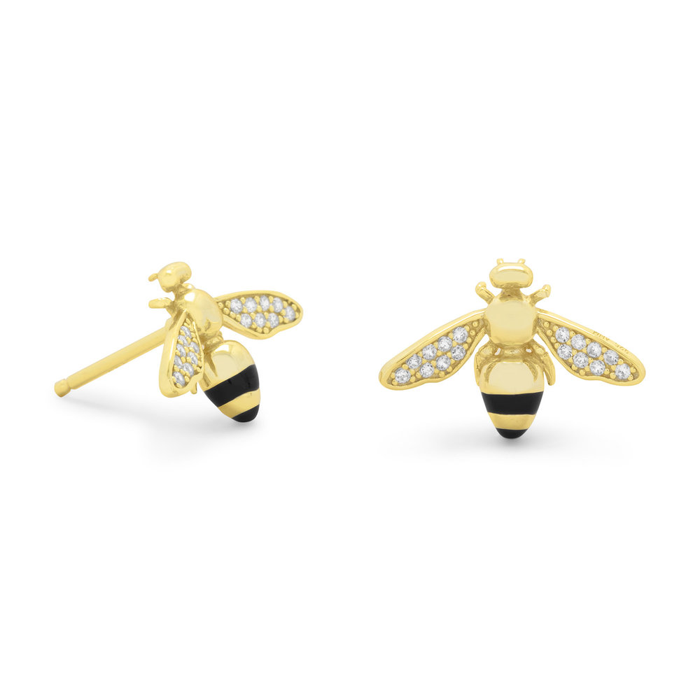 14 KARAT GOLD PLATED SIGNITY CZ BEE EARRINGS  $32,00