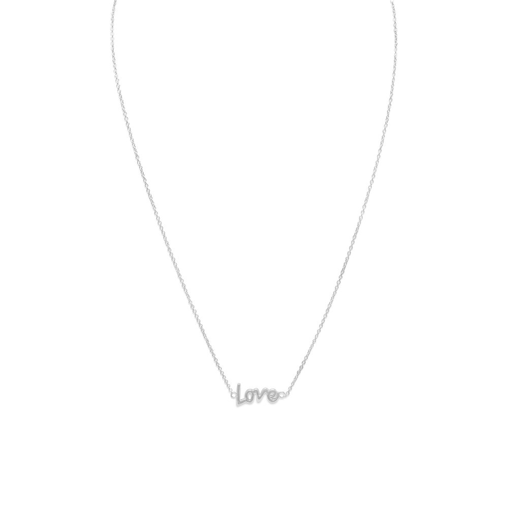 "16"" + 2"" RHODIUM PLATED ""LOVE"" NECKLACE  $28.00"