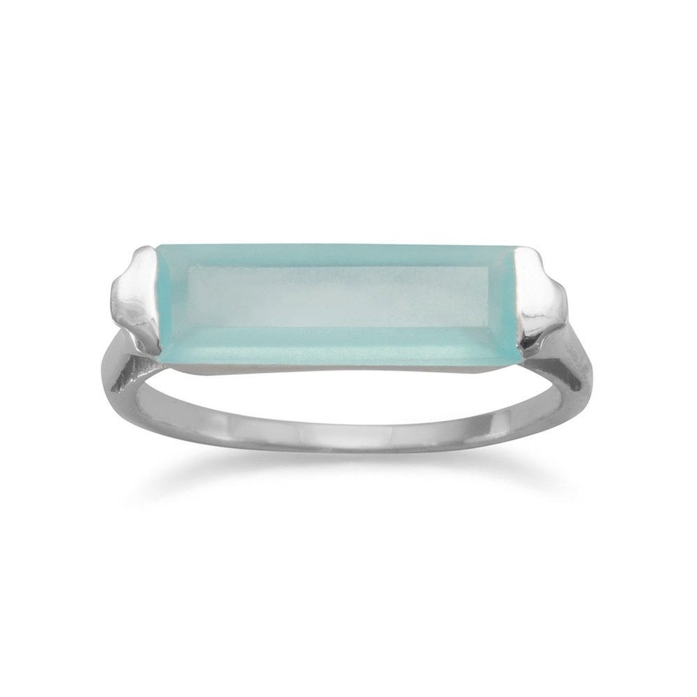 Rhodium Plated Green Chalcedony Bar Ring  $36.00