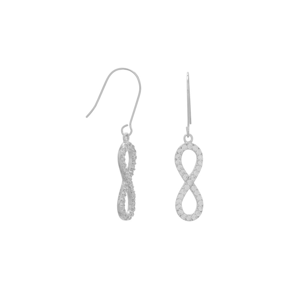 Rhodium Plated CZ Infinity Drop Earrings  $32.00
