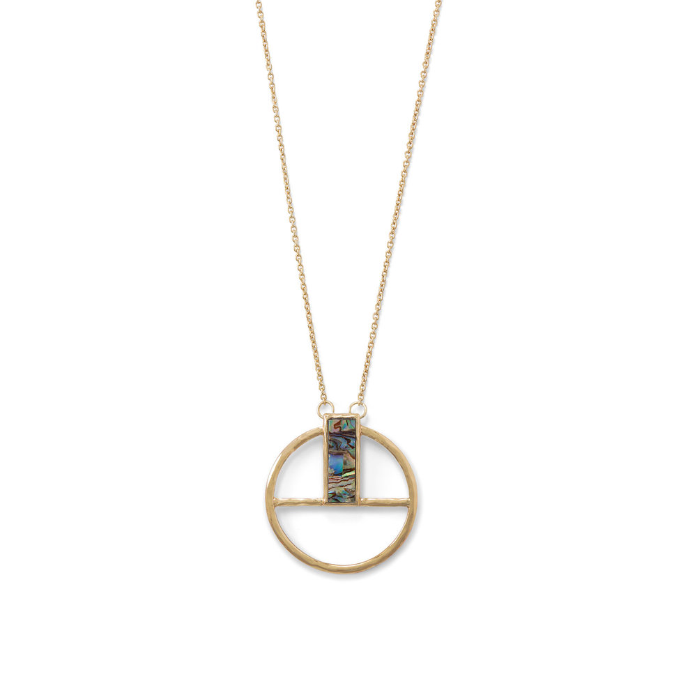 "29"" + 1.5"" extension gold tone plated brass cable chain necklace featuring an approximately 1.75"" fixed geometric pendant with a 7.8mm x 24mm rectangle abalone shell.  $32.00"