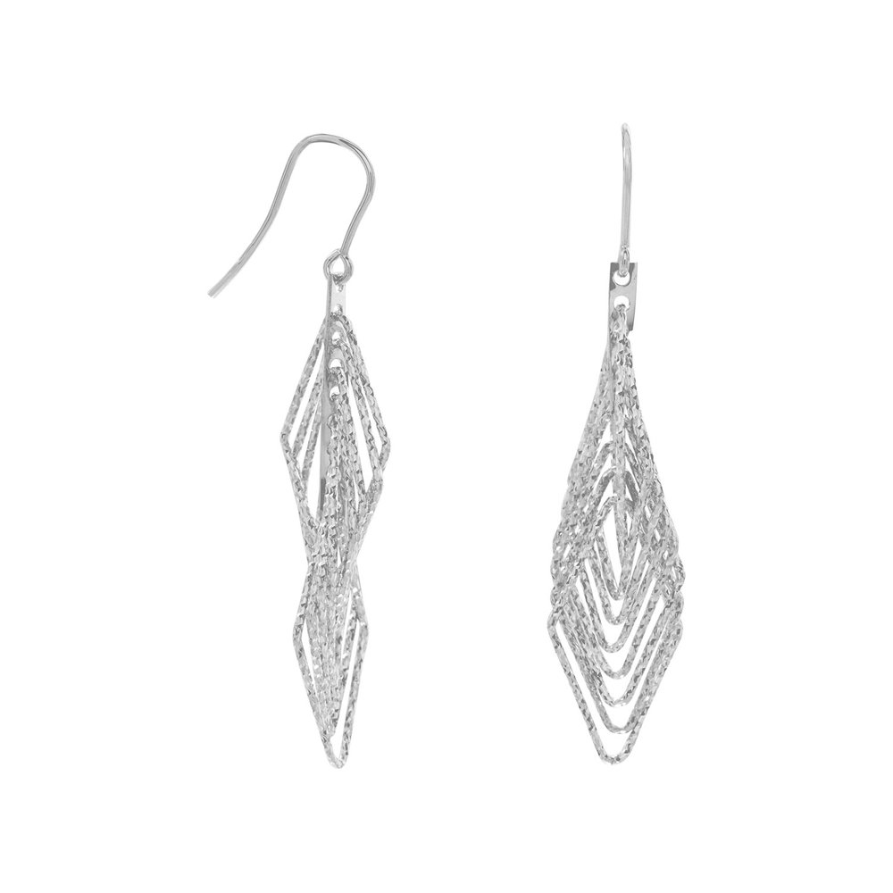 "Rhodium plated sterling silver 3D orbital diamond cut diamond shape french wire earrings. The earrings hang approximately 2.25"".  $58.00"