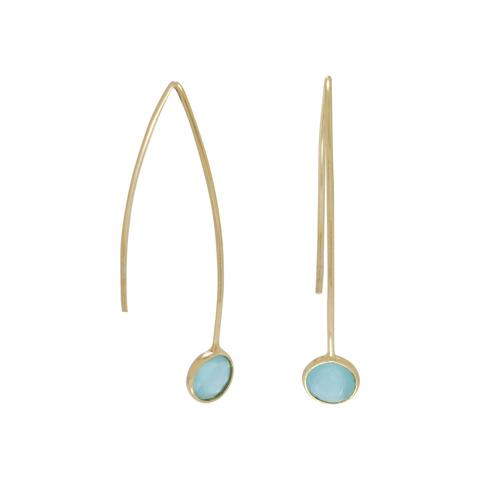 14 karat gold plated sterling silver curved wire threader earrings featuring a fixed 6mm faceted bezel set green hydro glass end.  $28.00