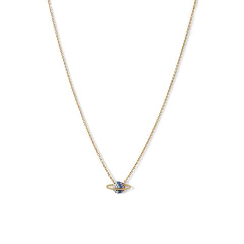 "16"" + 2"" extension 14 karat gold plated sterling silver cable chain necklace featuring a 15mm x 7mm mini planet pendant covered in 1.2mm clear, blue, and baby pink CZ's.  $42.00"