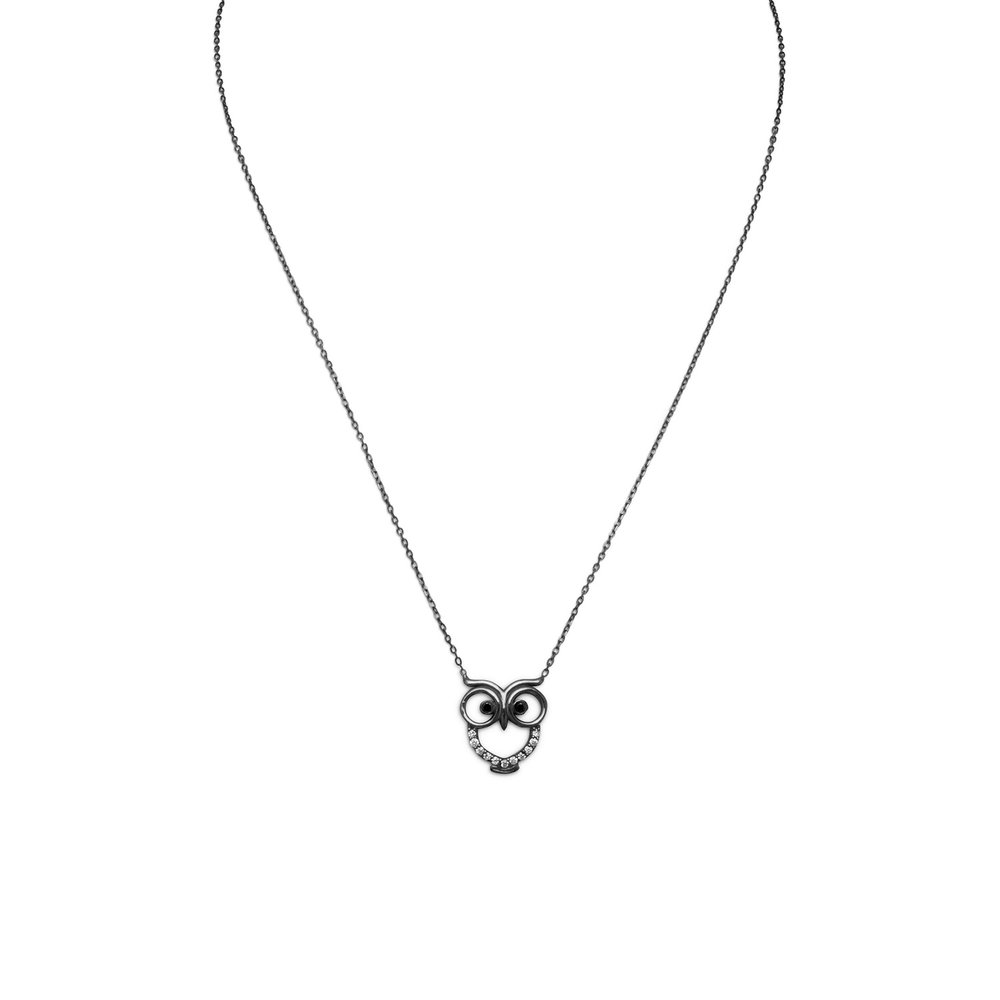 "16"" + 2"" extension ruthenium plated sterling silver owl necklace. The owl has black CZ eyes and clear CZ body outline. The owl is approximately 13mm x 15mm.   $30.00"