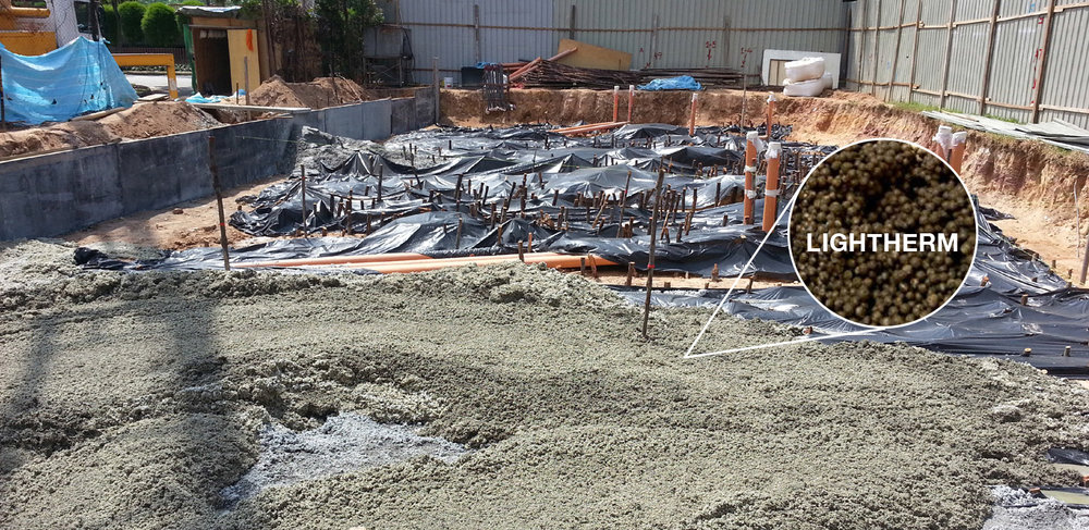 Excavated soil is backfilled with Lightherm Screed (400m3) for its lightweight properties.