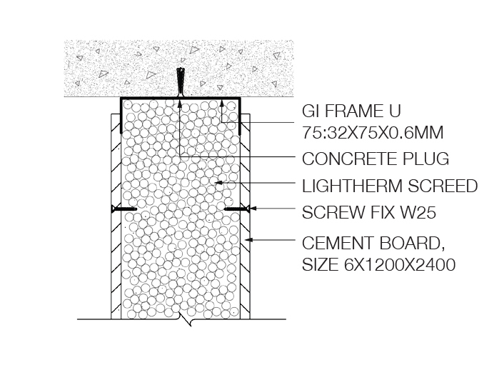 Technical Detail on the drywall infill with Lightherm Screed