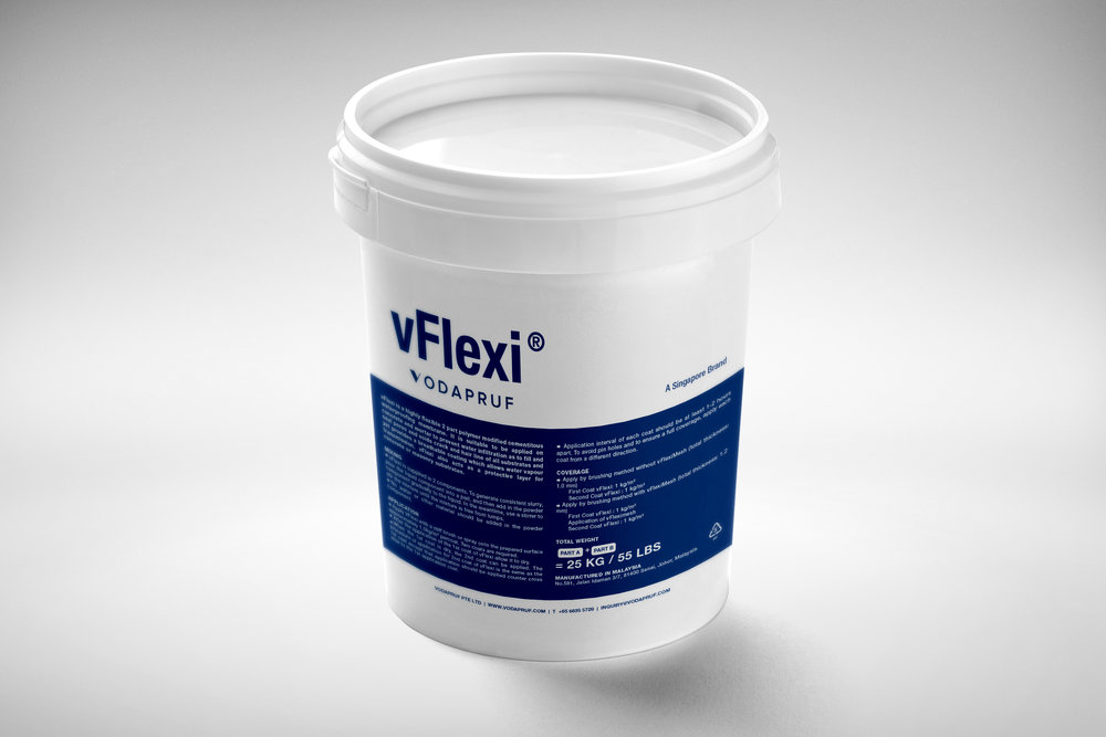 vFlexi - highly flexible 2 part polymer modified cementitous waterproofing membrane