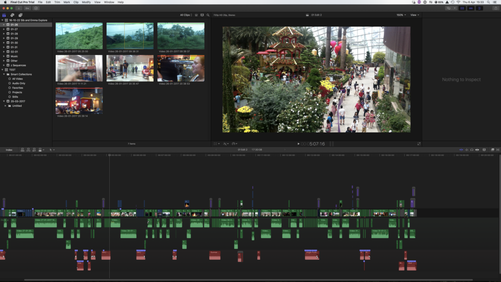 FCPX's default workspace Layout