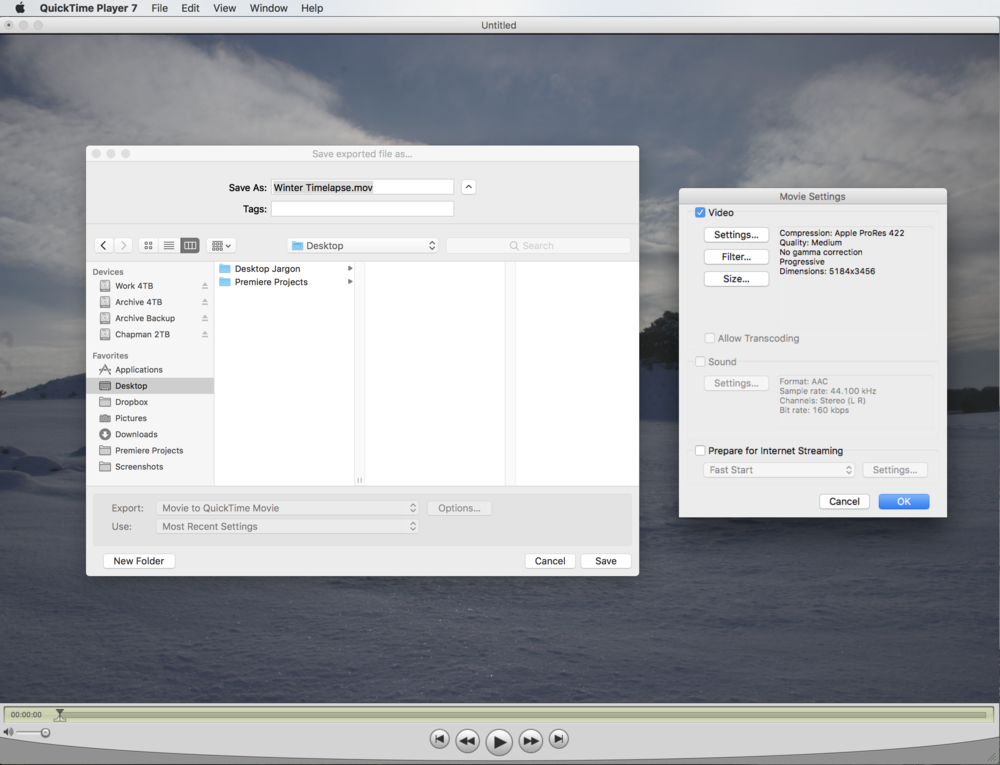 Quicktime 7 prepared for an export