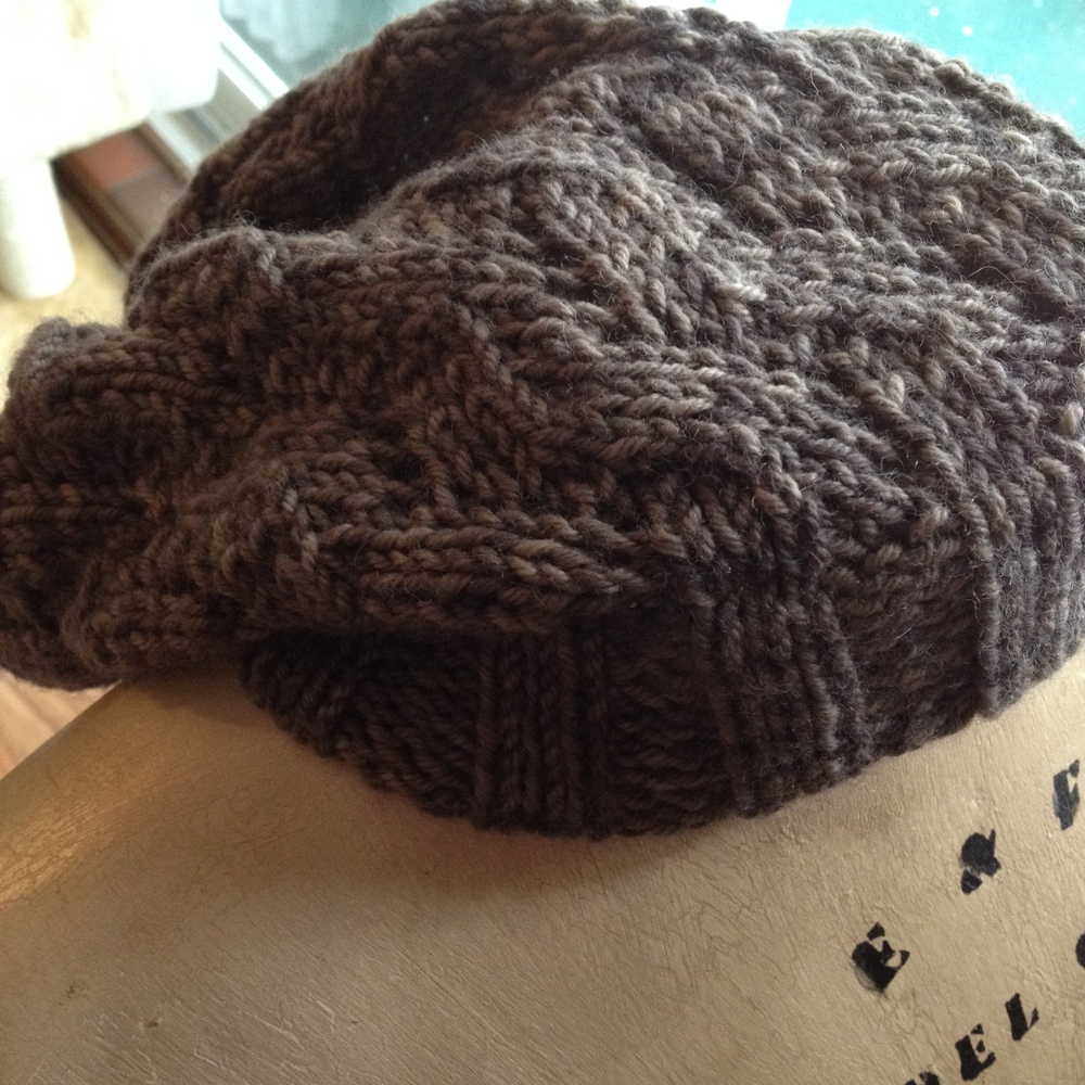 North Winds Hat by Felcia Lo in Hennessy Aran, Almost Truffle (aka, the accident skein that inspired the Potter's Truffle Colorway)