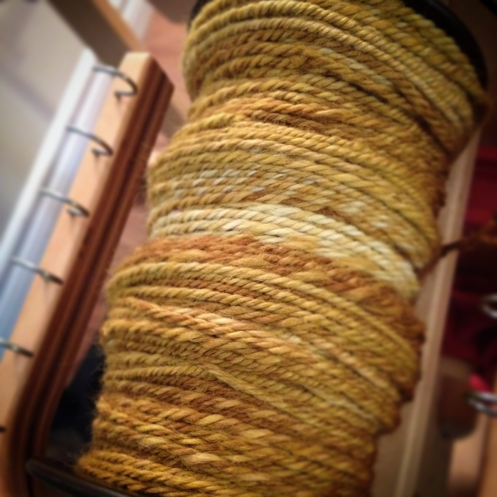 I finished spinning the singles and plied some Georgian Bay Fibre Co. Hennessy Combed Top in Franklin Island Lichen