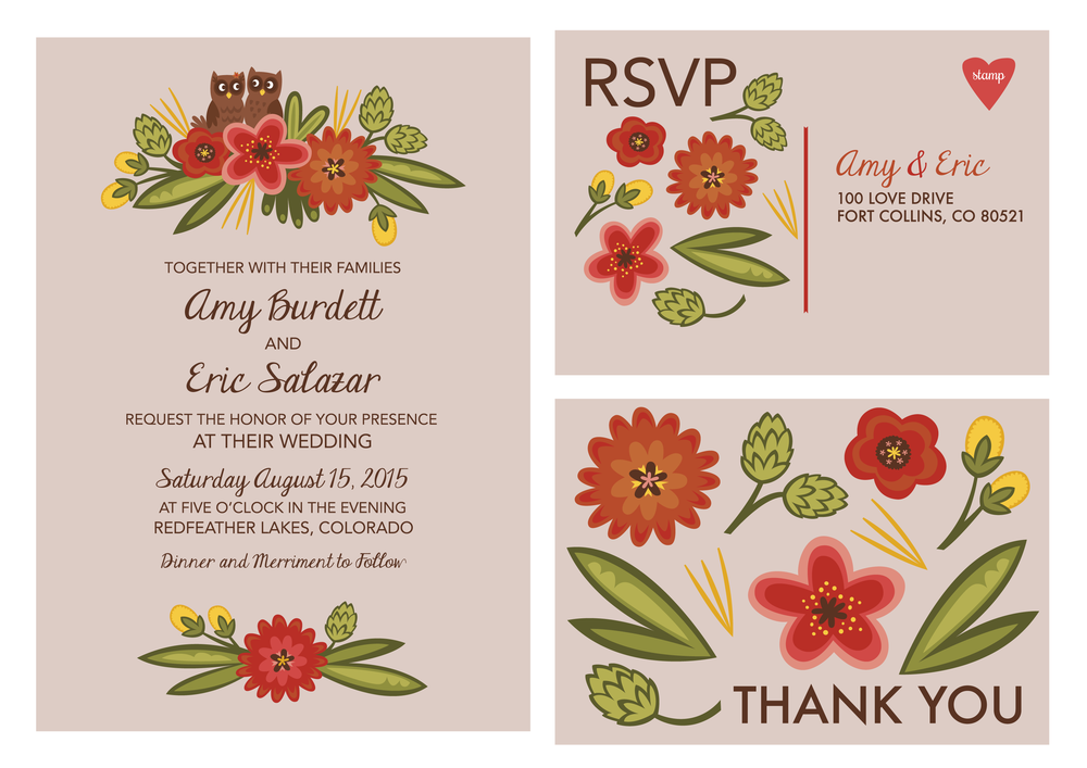 Owl and Fall Flowers Wedding Stationary